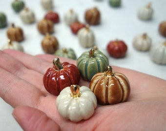 Mini Ceramic Pumpkins: Set of 4 in assorted colors with Gold Stems - Handmade Baby Pumpkin Miniatures for Decor and Fall Fun
