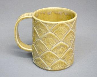 Sand Castle Scallop Mug - Handmade Porcelain 18 oz Mug with Scalloped Textured Surface, Handbuilt Coffee Mug Glazed in Glossy Blonde