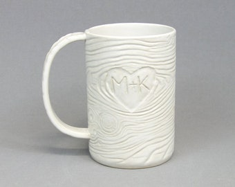 Personalized Heart Initials Faux Bois Mug - Made to Order