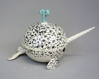 Handmade Narwhal Sugar Bowl - Stoneware Ceramic Three Piece Whale Bowl with Lid and Spoon