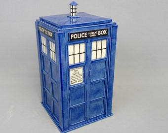 Large TARDIS Jar - Tardis Urn: Made to Order - Handmade Ceramic Container
