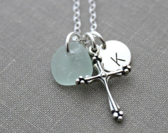 Sterling Silver Fancy Cross Charm Necklace with Genuine Sea Glass - Personalized Initial Charm - Confirmation Gift Idea - Faith - Hope