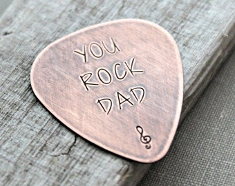 YOU ROCK DAD, Rustic Guitar Pick, Hand Stamped Copper Guitar Pick, Playable, Inspirational, 24 gauge, Gift for Boyfriend, Dad, Husband