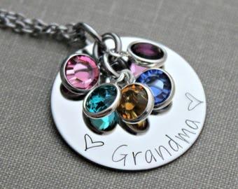 Personalized Grandma necklace, silver tone stainless steel, granny, nana, mom necklace with Swarovski crystal birthstones custom any name