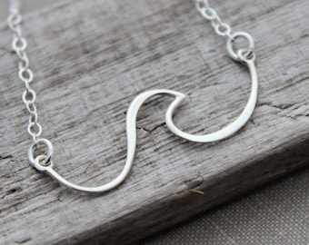 Wave Necklace - sterling silver wire wave pendant - sideways horizontal  necklace - Beach Jewelry - Ocean necklace - gift for her