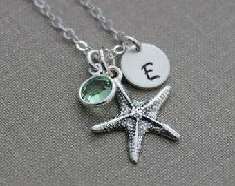 Sterling silver starfish initial charm necklace, Swarovski Crystal Birthstone and Sterling Silver Disk, Personalized, Hand Stamped