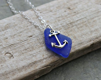 75fc626f043736 Cobalt Blue Sea Glass Necklace with Sterling Silver Anchor charm - Genuine Beach  Glass - Nautical Jewelry