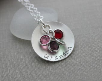 Mother's Necklace, Sterling silver cupped disc necklace with Swarovski crystal birthstones, Gift for her, Gift for Grandma Christmas present