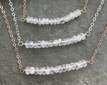 Glowing Rainbow Moonstone Layering necklace - 14k rose gold filled, sterling silver or 14k gold fill necklace -  gemstone bar necklace