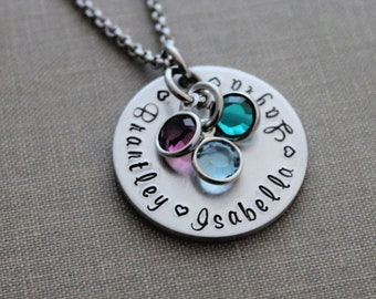 Children's names necklace, silver tone aluminum and stainless steel Personalized necklace with Swarovski crystal birthstones hand stamped