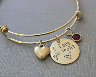 I love you more - gold stainless steel adjustable bangle - heart charm - Swarovski crystal birthstones - personalized Valentine's Day gift