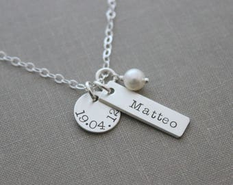 Name birthdate Necklace - Sterling silver disc circle & bar white pearl, hand stamped children's name necklace, Gift for new mom