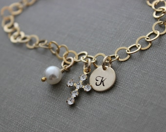 14k Gold filled Charm bracelet with Swarovski Crystal Cross and Personalized Initial Charm - White Swarovski crystal pearl - confirmation