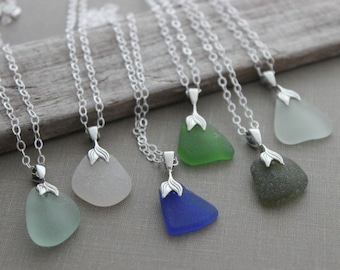 a80d6e4ba8dff2 Mermaids Tail sea glass necklace - choice of green, seafoam, white, cobalt  blue - genuine SeaGlass Necklace - gift for beach lover
