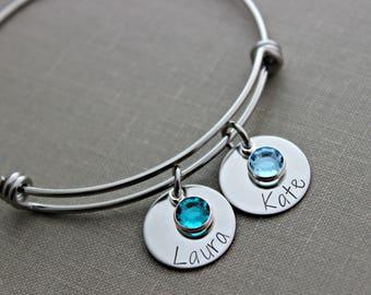 Grandma Bracelet - Childrens Names Bracelet, Hand stamped aluminum disc, Swarovski crystal birthstones and stainless steel bangle bracelet