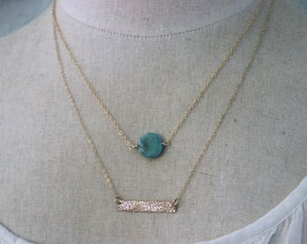 Layered necklaces - Genuine Turquoise gemstone and skinny horizontal bar - Layering Jewelry - Sterling silver, gold filled or rose gold fill