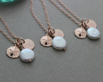 Beach Bridesmaid Jewelry Gift Set - 14k rose gold filled necklace Sand dollar Freshwater White coin pearl customized monogram initial disc