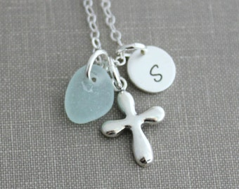 Personalized Charm Necklace with Sterling Silver Cross Sea Glass and Initial Charm, Puffed Cross, Faith Necklace, Confirmation Gift idea