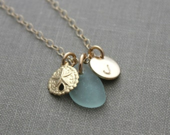 Charm Necklace with 14k Gold Filled Sand Dollar Genuine Sea Glass and Initial Charm, personalized jewelry, sand dollar necklace monogrammed