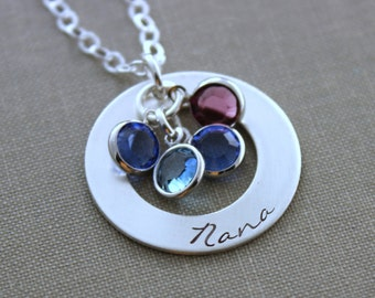 Sterling Silver Nana Washer Necklace - Hand Stamped Personalized with Swarovski Crystal Birthstones - Grandchildren - Grandmother - Gift