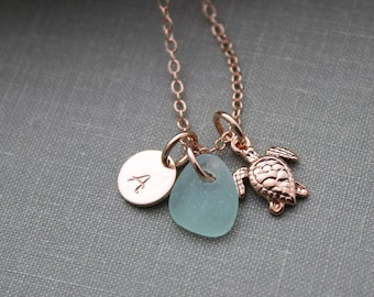 Rose Gold vermeil sea turtle necklace - Genuine Sea Glass and Initial Charm necklace - Wedding Bridesmaid Gift, Personalize Pink Gold Filled