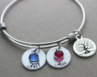 Children's name Bracelet with Family Tree - Hand stamped - stainless steel bracelet - Swarovski crystal birthstones wire bangle gift for Mom
