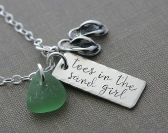 sterling silver toes in the sand girl necklace with genuine sea glass charm - flip flops charm hand stamped rectangle bar - beach jewelry