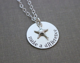 make a difference - the starfish story - all .925 sterling silver necklace - hand stamped Beach Jewelry - Teacher Appreciation Gift -