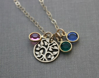 Bronze family tree necklace, with 14k gold filled chain and Swarovski Crystal birthstones Grandma necklace children birthstones Christmas