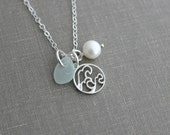 beach wave necklace with genuine sea glass and freshwater pearl, 925 sterling silver Beach Jewelry, Ocean Tidal surge - Surfer Jewelry