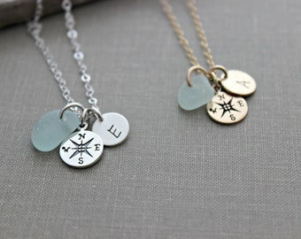 ca521ef612d764 Sterling Silver or gold Compass necklace, genuine Sea Glass, personalized  mini initial, Beach Jewelry Graduation gift idea travel wanderer