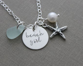 ee5d1241280f23 Sterling silver beach girl necklace - freshwater pearl, genuine sea glass,  starfish charm and hand stamped disc - beach quote jewelry