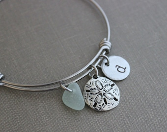 6fa4f91550defc sand dollar charm bracelet, stainless steel adjustable bangle with genuine sea  glass, and hand stamped initial disc Beach glass jewelry