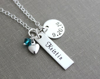 Sterling Silver New Mom necklace Name and Date - Circle and Rectangle Charm - Swarovski Crystal Birthstone- Personalized - Heart - gift