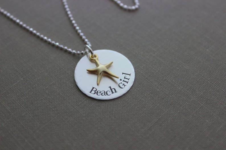 Beach Girl Necklace Silver and Gold Sterling silver disc image 0