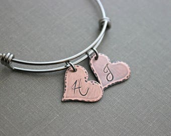 Heart initial bracelet - Monogrammed Rustic heart charms - Stainless steel Bangle - Gift for mom - Mixed metal - expandable wire