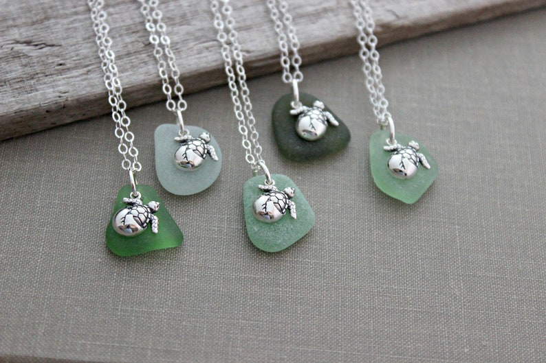 Baby sea turtle necklace  genuine sea glass charm necklace  image 0