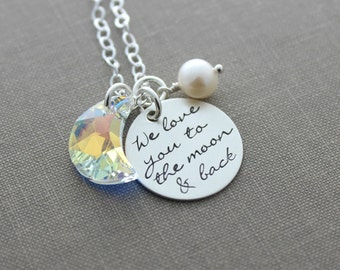 I love you to the moon & back necklace - Sterling Silver Disc - Hand Stamped with AB Swarovski Crystal Moon - Charm Necklace - Pearl