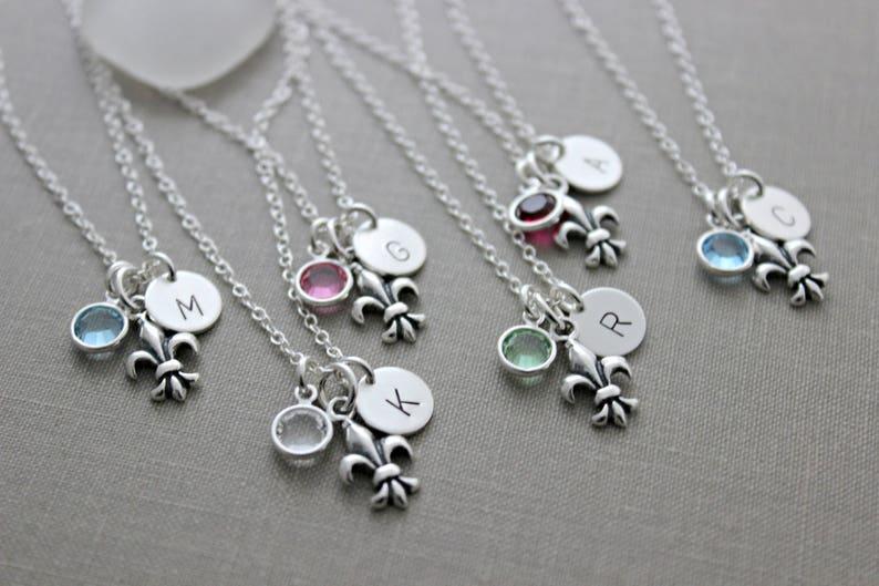 Sterling Silver Fleur De Lis Lily Wedding Party Necklaces image 0
