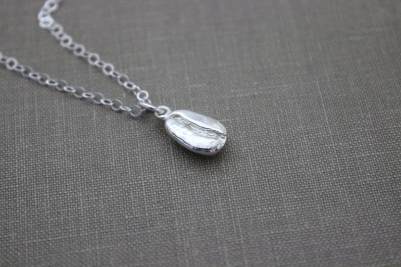 230d28f0527a3 Tiny Solid Sterling silver Coffee Bean Necklace Espresso   Etsy