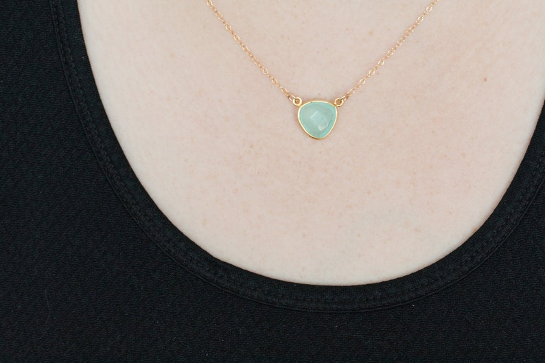 Aqua Blue Chalcedony Necklace 14k gold filled chain Seafoam image 0