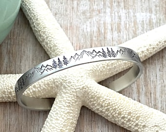 Mountain Range and Tree Scene Bracelet - Hand stamped silver aluminum cuff bracelet - 1/4 Inch skinny stacking bangle - Birthday gift