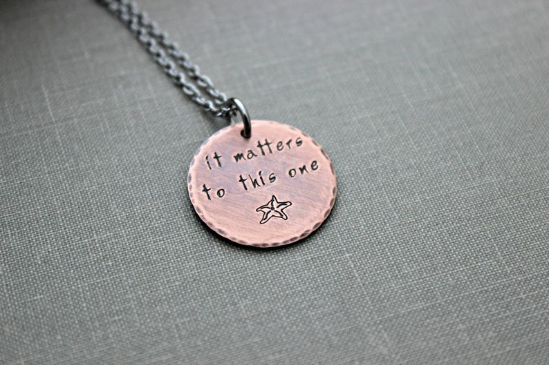 Starfish Story necklace  Copper hand stamped disc necklace  image 0