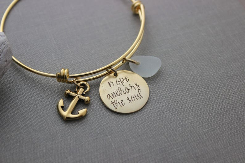 Gold bangle stainless steel hope anchors the soul genuine image 0