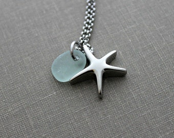 Starfish Cremation Urn Pendant - Stainless Steel with Genuine Sea Glass  Personalized beach memorial Charm Memorial for Beach Lover Sea Star