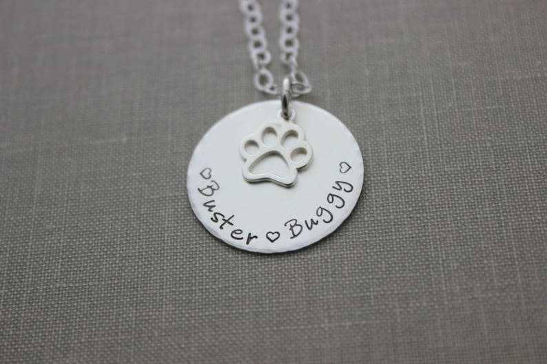 Pet Mom Necklace  Sterling Silver  Personalized with Names image 0