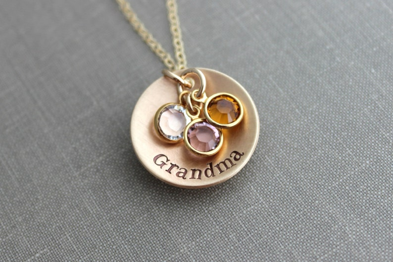 Hand Stamped Bronze and 14k Gold filled chain Grandma image 0