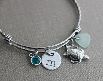 Sea turtle bracelet stainless steel adjustable twisted braided wire bangle, personalized initial, genuine sea glass and Swarovski birthstone