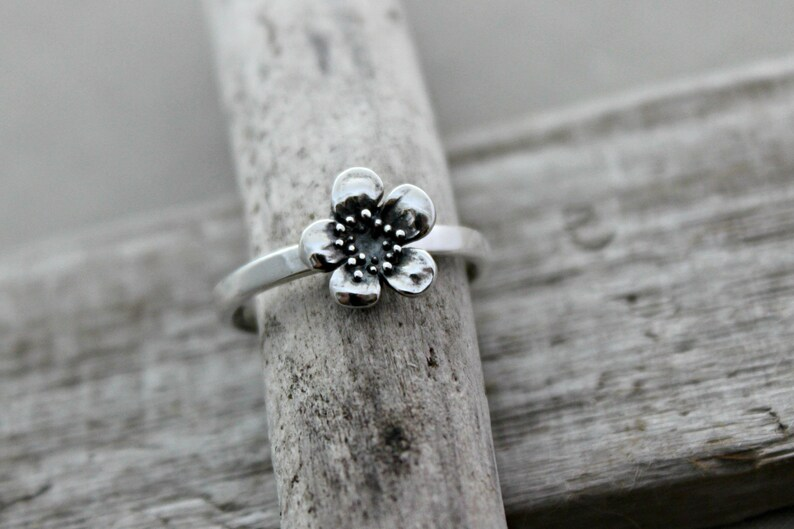 Sterling silver plum blossom ring  simple minimalist jewelry image 0