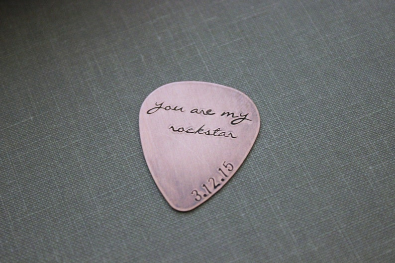 you are my rockstar  Rustic Copper Guitar Pick  Playable  image 0